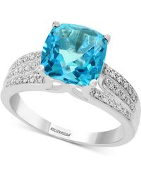 Effy Collection - Effy® Blue Topaz (4-3/8 Ct. T.w.) & Diamond (1/8 Ct. T.w.) Ring In 14k White Gold - Lyst