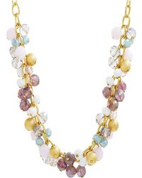 Catherine Malandrino - Multicolored Clustered Yellow Gold-tone Beaded Necklace - Lyst