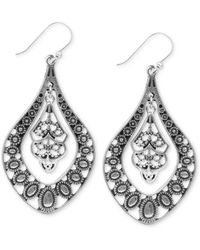 Lucky Brand - Earrings, Silver-tone Filigree Oblong Earrings - Lyst