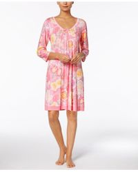 Miss Elaine | Peonies-print Dotted-hem Nightgown | Lyst