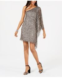 Adrianna Papell - Petite Embellished One-shoulder Dress - Lyst