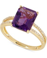 Macy's - Amethyst (2-9/10 Ct. T.w.) And Diamond (1/10 Ct. T.w.) Split Shank Ring In 14k Gold - Lyst