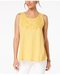Style & Co. - Cotton Soutache-trim Tank Top, Created For Macy's - Lyst