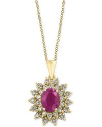Effy Collection - Certified Ruby (1-3/8 Ct. T.w.) And Diamond (3/4 Ct. T.w.) Pendant Necklace In 14k Gold - Lyst