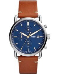 Fossil - Men's Chronograph Commuter Light Brown Leather Strap Watch 42mm - Lyst
