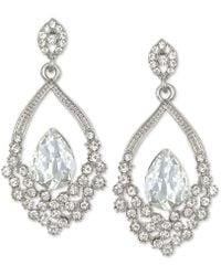 Badgley Mischka - Silver-tone Crystal Open Drop Earrings - Lyst