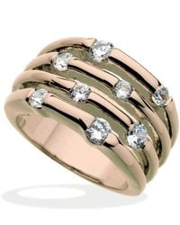 Guess   Rose Gold-tone Multirow Crystal Stone Ring   Lyst