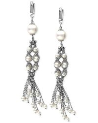 Effy Collection - Effy Cultured Freshwater Pearl And Chain Cluster Drop Earrings In Sterling Silver (3-1/2mm) - Lyst