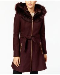 Laundry by Shelli Segal | Faux-fur-trim Skirted Coat | Lyst
