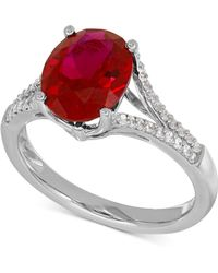 Macy's - Lab-created Ruby (3-5/8 Ct. T.w.) And White Sapphire (1/5 Ct. T.w.) Ring In Sterling Silver - Lyst