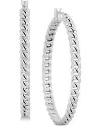 """Lucky Brand - Silver-tone Chain Link 2"""" Hoop Earrings - Lyst"""