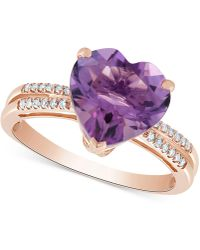 Macy's - Amethyst (3-1/5 Ct. T.w.) & Diamond Accent Ring In 14k Rose Gold - Lyst