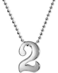 Alex Woo - Number Pendant Necklace In Sterling Silver - Lyst