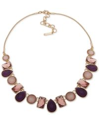 "Nine West - Stone Collar Necklace, 16"" + 2"" Extender - Lyst"