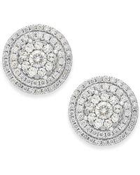 Macy's - Diamond Cluster Stud Earrings In 14k White Gold (1-1/2 Ct. T.w.) - Lyst