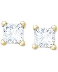 Macy's - Princess-cut Diamond Stud Earrings In 10k Gold (1/5 Ct. T.w.) - Lyst