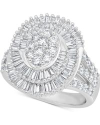 Macy's - Diamond Swirl Cluster Statement Ring (2 Ct. T.w) In 14k White Gold - Lyst