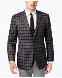 Vince Camuto - Men's Slim-fit Stretch Grey Multi-plaid Sport Coat - Lyst