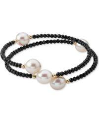 Macy's - Cultured Freshwater Pearl (10mm) & Lapis Lazuli (3mm) Wrap Bracelet In 14k Gold (also Black Spinel) - Lyst