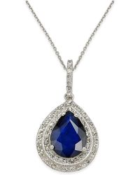 Macy's - Blue Sapphire (2 Ct. T.w.) And White Sapphire (1/2 Ct. T.w.) Pendant Necklace In 14k White Gold - Lyst