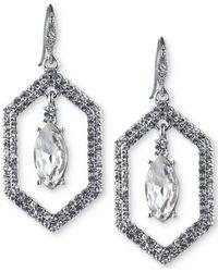 Carolee | Silver-tone Crystal Openwork Drop Earrings | Lyst