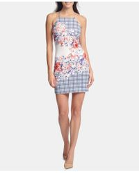 9764f8ed6 Guess - Apron-neck Floral Bodycon Dress - Lyst