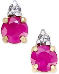 Macy's - Ruby (5/8 Ct. T.w.) And Diamond Accent Stud Earrings In 14k Gold And 14k White Gold Accents - Lyst