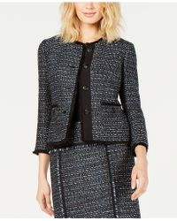 Anne Klein - Fringe-trim Tweed Jacket - Lyst
