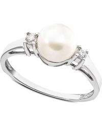 Macy's - Cultured Freshwater Pearl & Diamond (1/10 Ct. T.w.) Ring In 14k White Gold - Lyst