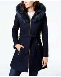 Laundry by Shelli Segal - Faux-fur-trim Hooded Coat - Lyst
