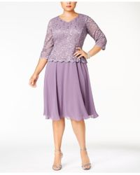 Alex Evenings - Plus Size Scalloped Lace A-line Dress - Lyst