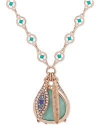 """Lonna & Lilly - Gold-tone Stone & Evil Eye Charm Pendant Necklace, 32"""" + 3"""" Extender - Lyst"""