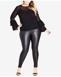 City Chic - Trendy Plus Size Sheer Bell-sleeve Top - Lyst