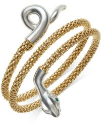 Macy's | Emerald-accent Snake Wrap Bracelet In 14k Gold Vermeil And Sterling Silver | Lyst