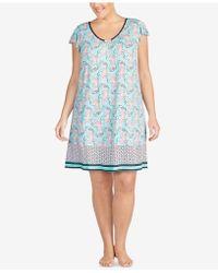 Ellen Tracy - Plus Size Printed Ruffle-sleeve Nightgown - Lyst
