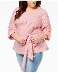 INC International Concepts - I.n.c. Plus Size Striped Tucked-sleeve Shirt, Created For Macy's - Lyst