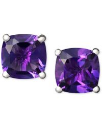 Macy's - 14k White Gold Earrings, Amethyst Cushion Studs - Lyst