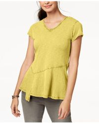 Style & Co. - Cotton Peplum-hem T-shirt, Created For Macy's - Lyst
