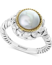Effy Collection - Effy® Cultured Freshwater Pearl (9mm) Ring In Sterling Silver & 18k Gold - Lyst