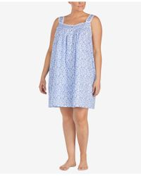 Eileen West - Plus Size Venise-lace Woven Cotton Nightgown - Lyst