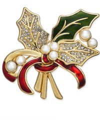 Charter Club - Gold-tone Imitation Pearl, Crystal & Epoxy Holly Pin, Created For Macy's - Lyst
