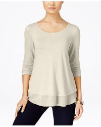 Style & Co. - Chiffon-hem Three-quarter-sleeve Top - Lyst