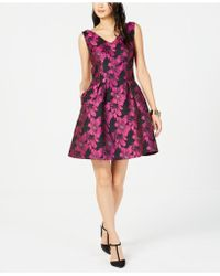 Donna Ricco - Metallic Floral Fit & Flare Dress - Lyst