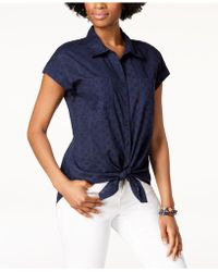 Style & Co. - Cotton Tie-front Top, Created For Macy's - Lyst