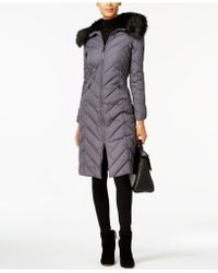 Laundry by Shelli Segal - Faux-fur-trim Long Puffer Coat - Lyst