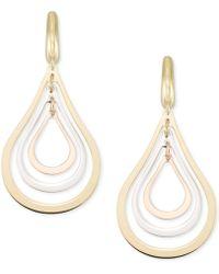 Macy's - Tri-colour Orbital Teardrop Drop Earrings In 14k Gold, White Gold & Rose Gold - Lyst