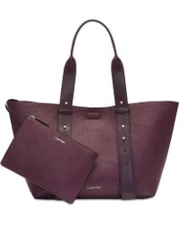 Calvin Klein - Jane Leather Medium Tote - Lyst