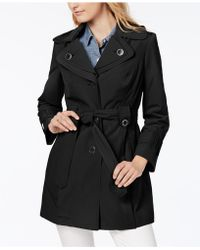 London Fog - Petite Water-resistant Hooded Double-collar Trench Coat - Lyst