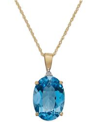 Macy's - Blue Topaz (7 Ct. T.w.) And Diamond Accent Oval Pendant Necklace In 14k Gold - Lyst