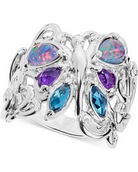 Carolyn Pollack - Multi-gemstone Butterfly Statement Ring (2-1/5 Ct. T.w.) In Sterling Silver - Lyst